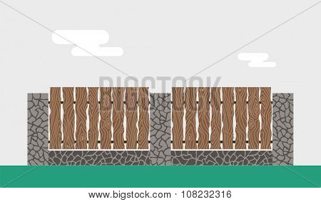 Wooden and stone fence isolated on background. Fences vector illustration. Fences railing vector isolated. Metall fence, long fence, vector fence. Fence silhouette construction isolated