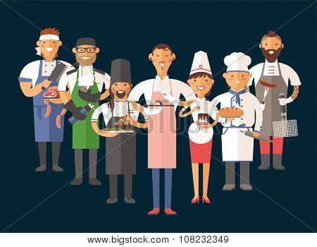 Vector cooking chefs vector illustration. Cartoon cook chefs icons. Restaurant cook chefs hat and cook uniform. Vector cooks, cooks uniform, different cooks chefs, chfs isolated, cook people
