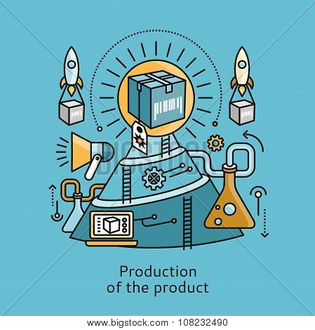 Production of Product Icon Flat Design Concept