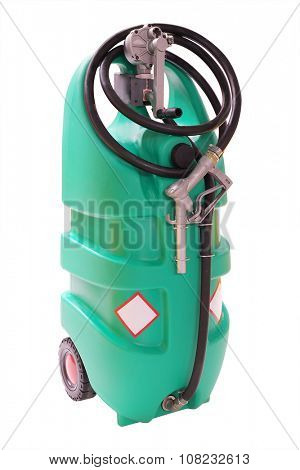Mobile plastic petrol pump isolated under the white background