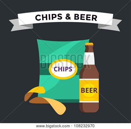 Vector beer snacks chips pack isolated. Beer and chips vector icons set. Beer bottle drink, chips box. Beer bottle silhouette, beer vector icon, beer isolated. Chips snacks beer vector set. Beer logo