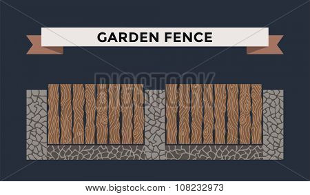 Wooden and stone fence isolated on night background. Fences vector illustration. Fences railing vector isolated. Metall fence, long fence, vector fence. Fence silhouette construction isolated