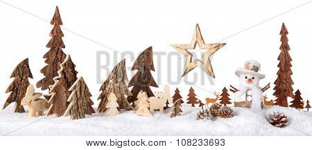 Wooden Decoration As A Cute Winter Scene