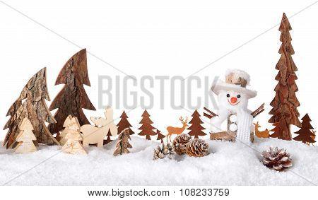 Wooden Decoration As A Cute Winter Scene