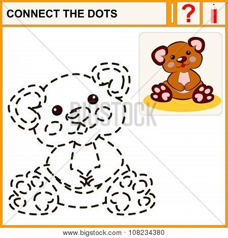 Connect the dots preschool exercise task for kids funny plush bear toy