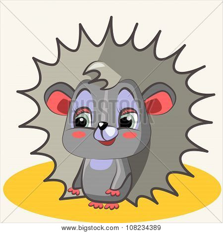 Fun animal. Cartoon vector Illustration of cute funny hedgehog