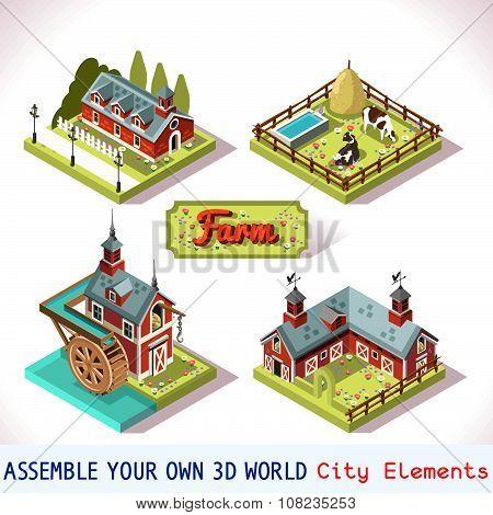 Farm Tiles 01 Set Isometric