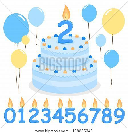 Blue birthday cake balloons and candles