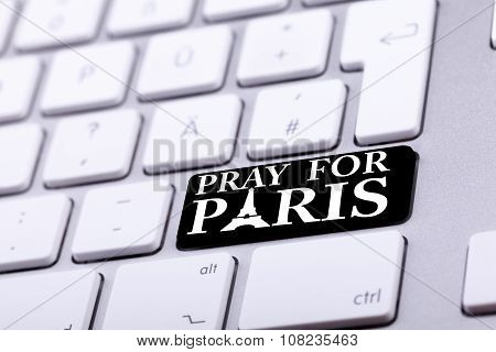 Keyboard With Pray For Paris Text And Symbol