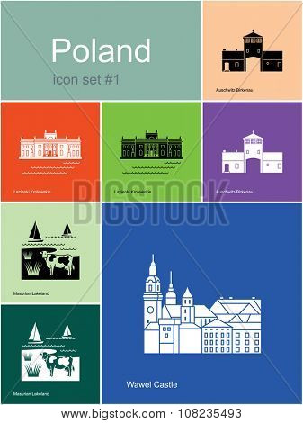 Landmarks of Poland. Set of color icons in Metro style. Raster illustration.