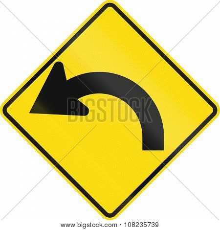 New Zealand Road Sign - Curve Between 90 Degrees And 120 Degrees To Left