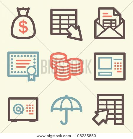 Banking web icons, finance and money, business symbols, coin and cash