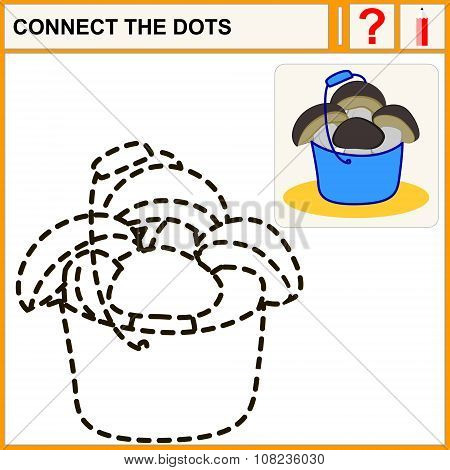 Connect the dots preschool exercise task for kids ceps in blue bucket