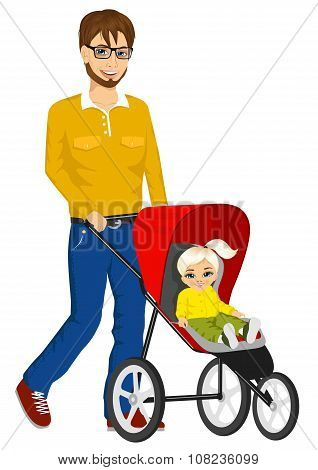 handsome single father pushing stroller