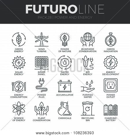 Power And Energy Futuro Line Icons Set