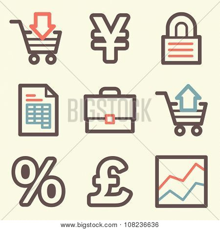 Business web icons, finance and money, business symbols, investment and chart