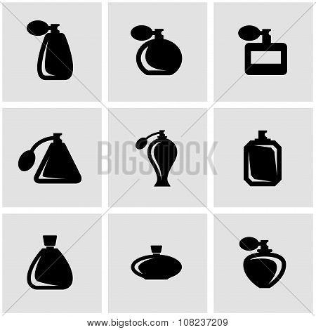 Vector Black Perfume Icon Set
