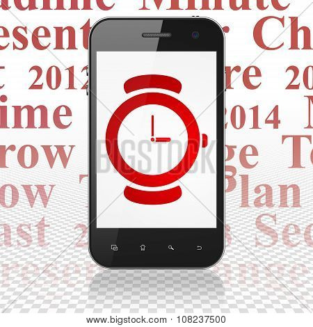 Time concept: Smartphone with Watch on display