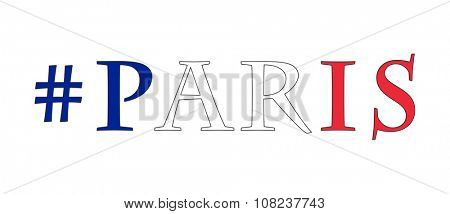 #Paris - in colors of French flag, on white