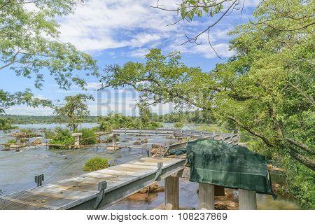 Abandoned Birdge At Parana River At Iguazu Falls