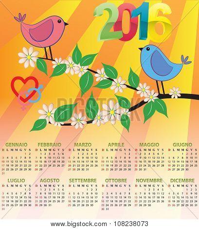 2016 Bird Calendar