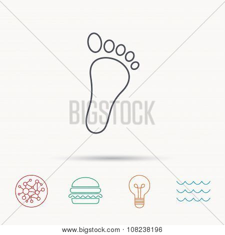 Baby footprint icon. Child foot sign.