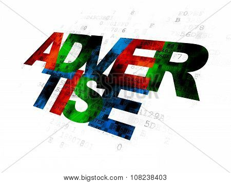 Advertising concept: Advertise on Digital background