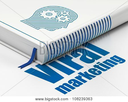 Marketing concept: book Head With Gears, Viral Marketing on white background