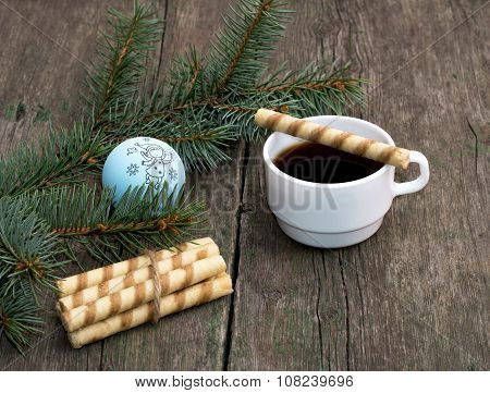 Coffee, Baking On A Cup And Nearby And A Coniferous Branch With Scenery, A Still Life