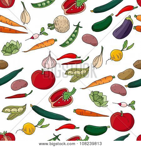 Seamless pattern with different fresh vegetables.  Endless texture for your design, announcements, postcards, posters.