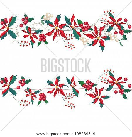Endless horizontal pattern brush with Christmas star flowers. For Christmas design, announcements, postcards, posters.