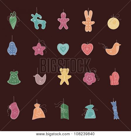 Set of different Christmas decorations. Simple colors. For Christmas design, announcements, postcards, posters.