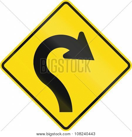 New Zealand Road Sign - Reverse Curve With Decreasing Radii, To Right