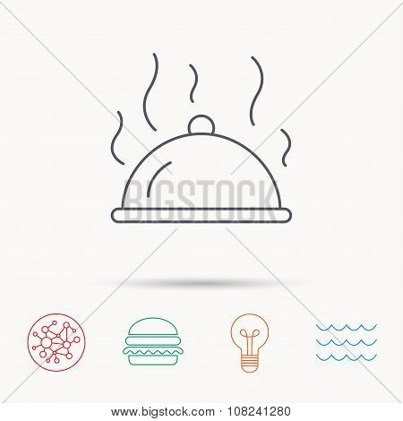 Restaurant cloche icon. Hot food sign.