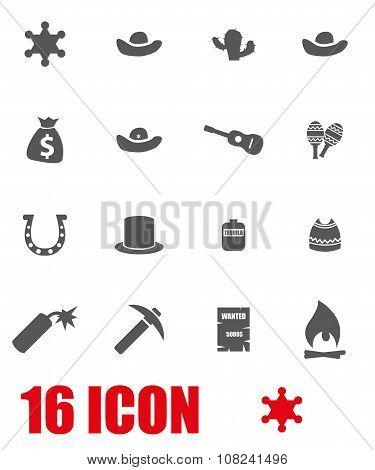Vector Grey Wild West Icon Set