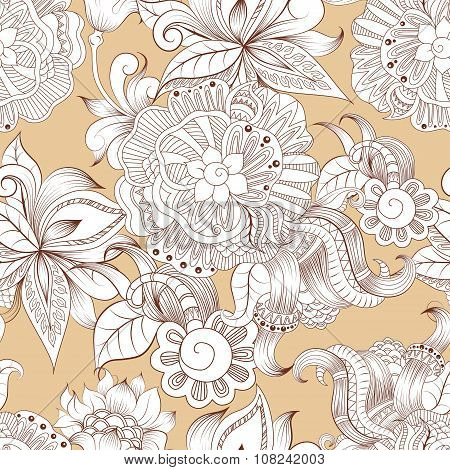 Sketchy doodles decorative floral pattern