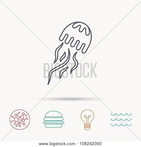 Jellyfish icon. Marine animal sign.