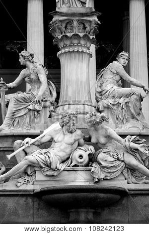 Pallas-athena-brunnen Fountain, Austrian Parliament In Vienna, Austria