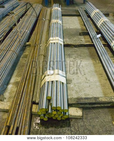 Steel Round Bars In Factory Storehouse
