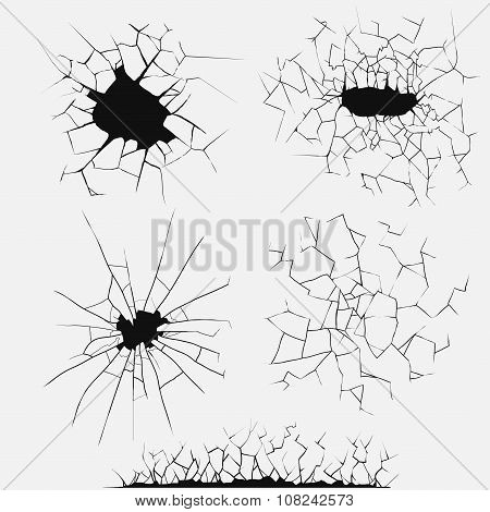 Cracks set, broken glass vector