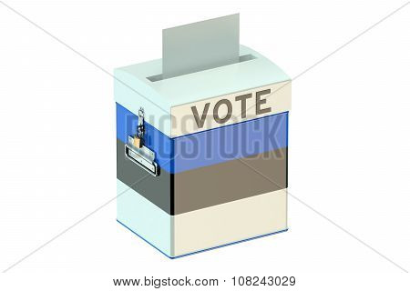 Voting Concept With Flag Of Estonia On Ballot Box