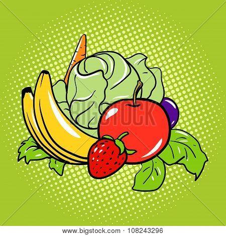 Healthy food vegetarian comic book style vector