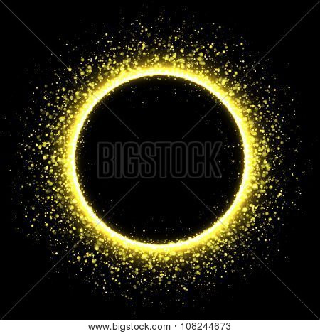 Sparkling golden corona circle. Stardust solar eclipse.
