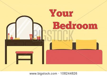 Bedroom. Bedroom interior. Isolated bedroom furniture on background.