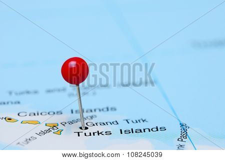 Turks Islands pinned on a map of America