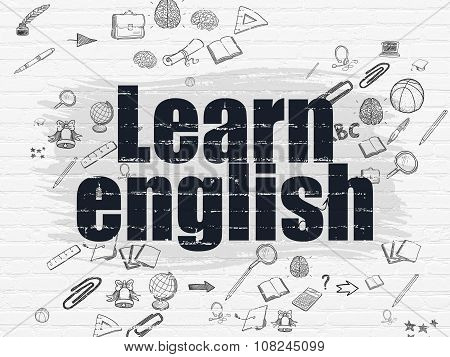 Learning concept: Learn English on wall background