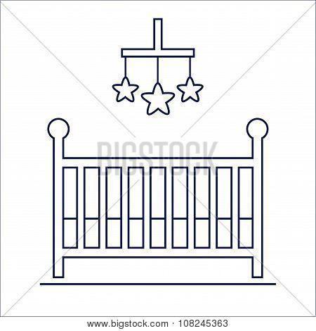Crib isolated icon.