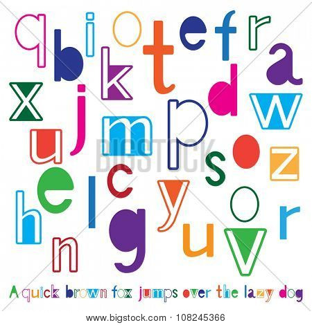 Bright cute alphabet with example of text