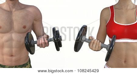 Man and Woman Lifting Weights as a Fitness Concept Art