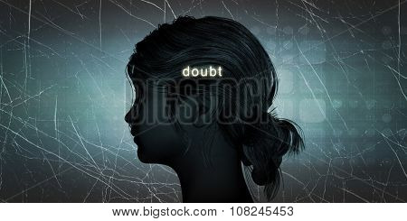 Woman Facing Doubt as a Personal Challenge Concept